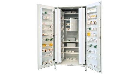 Armadio Farmaci Con Tesoretto.Armadio Portamedicinali Nobilato In Acciaio Con Tesoretto 100x60xh 195cm Bianco